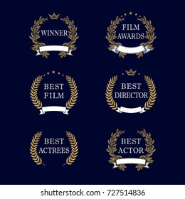Film awards and best nominee gold award wreaths on dark blue background. Best film award golden laurel emblem. Isolated vintage winner elegant vector logo