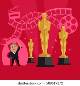 Film awards design flat banner concept. Famous actor and director receives an award in the form of figurines in the film industry. Happy man holding a prize in his hands. Vector illustration