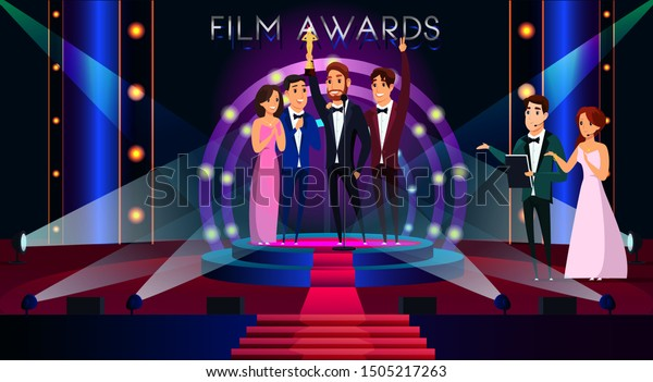 Film awards flat vector illustration. Famous actor getting golden prize, reward cartoon character. Smiling celebrities standing on stage. Event hosts announcing cinema festival winner
