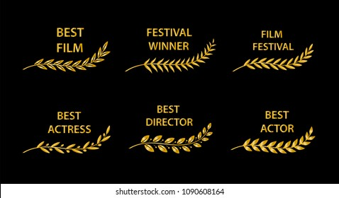 Film Awards. Golden award branches on black background. Vector illustration.