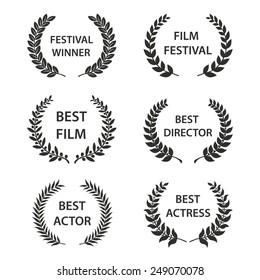 Film Awards. Set of black and white silhouette award wreaths. Vector eps 10 illustration.