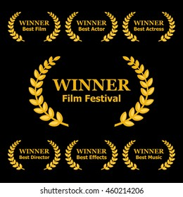 Film Awards Winners Laurels Set on Black Background. Vector