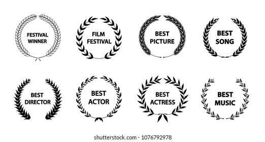 Film awards wreaths set. Film awards logo. Best award vector, award logo, winner logo, film festival nominee.Vector illustration