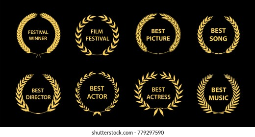 Film awards wreaths set. Film awards logo. Best award vector, award logo, winner logo, film festival nominee.Vector illustration.
