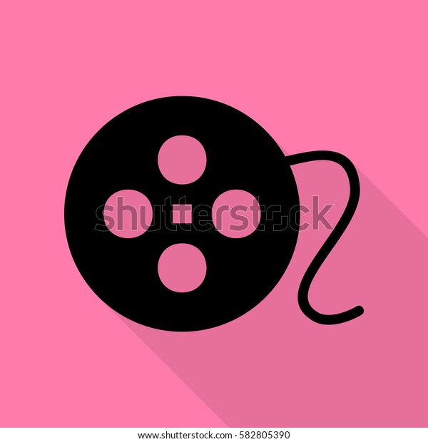 Film circular sign. Black icon with flat style shadow path on pink background.