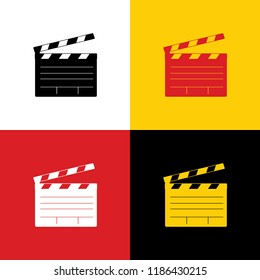 Film clap board cinema sign. Vector. Icons of german flag on corresponding colors as background.