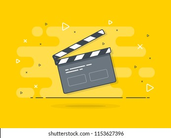 Film clapper board icon concept. Film making device, video movie clapper equipment. Trendy flat vector on yellow background. Vector Illustration.