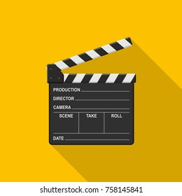 Film clapper board icon on yellow background with shadow. Blank movie clapper cinema vector illustration