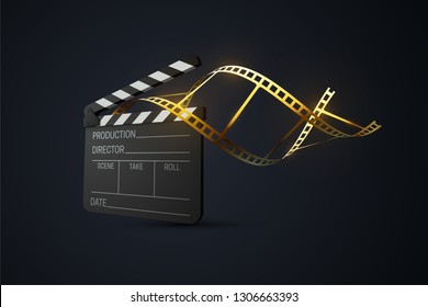 Film clapperboard with curled golden film strip. Cinema production or media industry concept. Vector 3d illustration. Realistic filmmaking equipment. Movie production sign. Cinematography award symbol