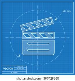 film clapperboard vector blueprint icon