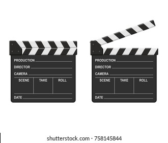 Film clappers boards isolated on white background. Blank movie clapper cinema vector illustration