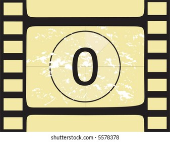 Film countdown ai number 0. Vector illustration