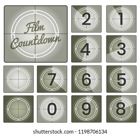Film countdown. Movie numbers countdown backgrounds, old camera vintage counting frames collection, vector illustration