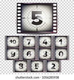 Film Countdown Numbers 10 - 0 Vector. Monochrome Brown Grunge Strip. Start Of The Old Film. Isolated On Transparent Background Illustration
