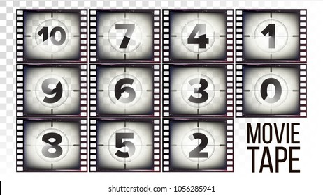 Film Countdown Numbers 10 - 0 Vector. Monochrome Brown Grunge Strip. Elements Of Cinema. Start Of The Retro Film. Counting Down Timer  Animation. Isolated On Transparent Background Illustration