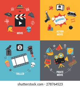 Film design concept set with action pirate movie triller flat icons isolated vector illustration