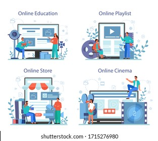 Film directing online service or platform on differernt device concept set. Idea of creative people and profession. Clapper and camera, equipment for film making. Isolated vector illustration