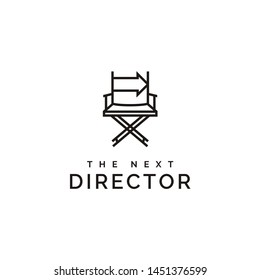 film director chair and arrow right logo design