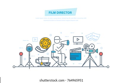 Film director concept. Film director participates in process of filming and management. Entertainment, cinema, movie time, film, movie theater. Illustration thin line design of vector doodles.