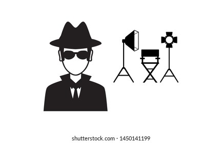 Film director on the set. Videoproduction and filmmaking. Objects isolated on white background.