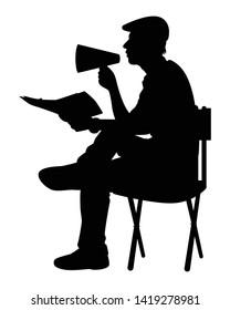 Film director silhouette vector on white
