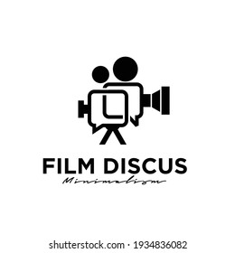 film discuss Studio Movie Video Cinema Cinematography Film Production concept camcorder with bubble chat logo design vector icon illustration Isolated White Background