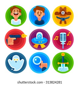 Film genres icon set. Comedy, drama, western, thriller, science fiction, musical, horror, detective, fantasy. Vector flat illustration.