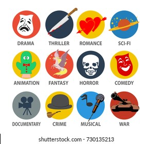 Film genres icon set with drama, horror, comedy, thriller, war. crime, musical isolated on white, vector illustration