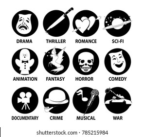 Film genres icon set with drama, horror, comedy, thriller, war. crime, musical isolated silhouettes on a transparent background, vector illustration