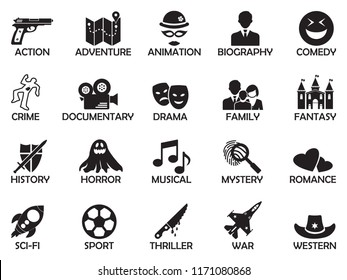 Film Genres Icons. Black Flat Design. Vector Illustration.