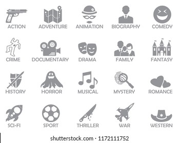 Film Genres Icons. Gray Flat Design. Vector Illustration.