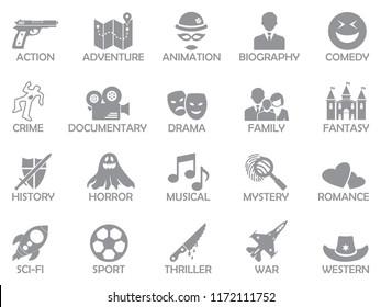 Film Genres Icons. Gray Flat Design. Vector Illustration.