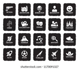 Film Genres Icons. Grunge Black Flat Design. Vector Illustration.