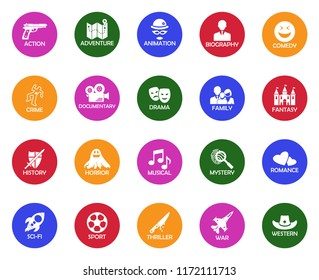 Film Genres Icons. White Flat Design In Circle. Vector Illustration.