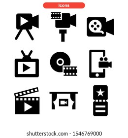 film icon isolated sign symbol vector illustration - Collection of high quality black style vector icons