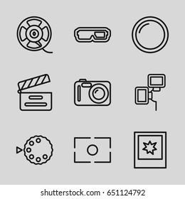 Film icons set. set of 9 film outline icons such as movie clapper, film tape, photo, camera lense, camera flash