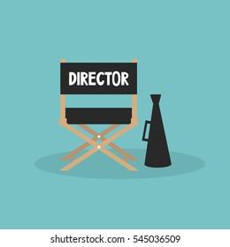Film industry. Director's chair and megaphone/ editable flat vector cartoon illustration