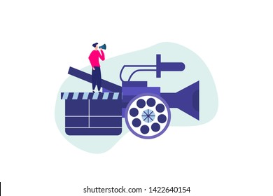 Film maker. Film Production vector illustration concept, people in the studio making a film, filmmaking online course can use for, landing page, template, ui, web, mobile app, poster, banner