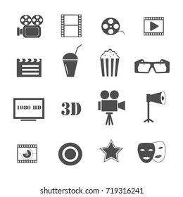 film and movie icons set vector