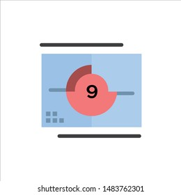 Film, Movie, Numbers, Opening, Premiere  Flat Color Icon. Vector icon banner Template
