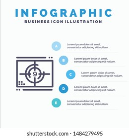 Film, Movie, Numbers, Opening, Premiere Line icon with 5 steps presentation infographics Background. Vector Icon Template background