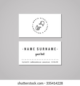 Film, movie and video business card design concept. Logo with hands making frame. Vintage, hipster and retro style. Black and white.
