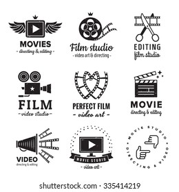 Film, movie and video logo vintage vector set. Hipster and retro style. Perfect for your business design.