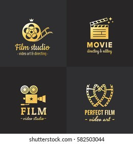 Film, movie and video logo vintage vector set. Hipster and retro style. Part one.