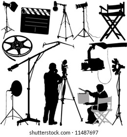 film objects and cameraman vector
