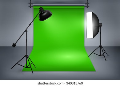 Film or photo studio green screen. Interior with equipment, photography and flash spotlight. Vector illustration