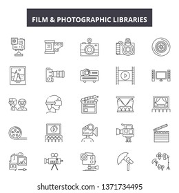 Film and photographic libraries line icons, signs set, vector. Film and photographic libraries outline concept, illustration: film,camera,photography,photo,technology,web,photograph,design