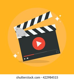 Film production concept vector illustration. Video production icon in flat style isolated from the background.