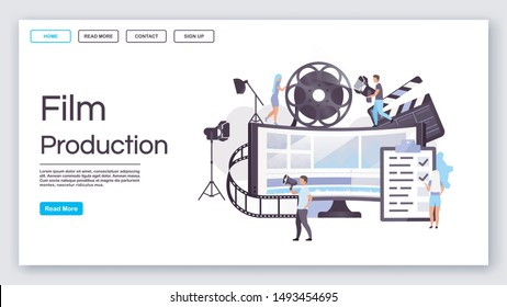 Film production landing page vector template. Video making website interface idea with flat illustrations. Movie pre production homepage layout. Filmmaking crew web banner, webpage cartoon concept