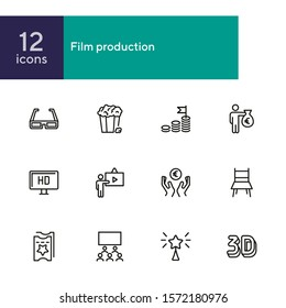 Film production line icon set. 3d glasses, presentation, hall, ticket. Movie industry concept. Can be used for topics like cinema, first night, premier, award